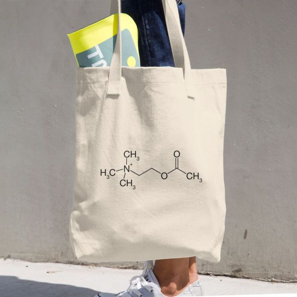 Acetylcholine Molecule Cotton Tote Bag Beige carrying stuff from a to b