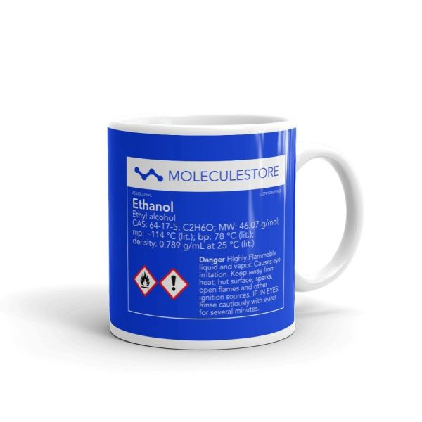 Ethanol Molecule Intoxicated Blue Mug 11oz Handle on Right