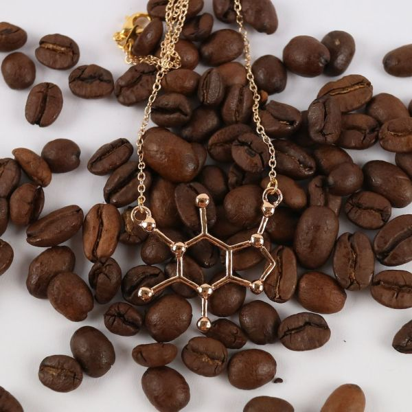Caffeine Necklace Gold with Coffee Beans