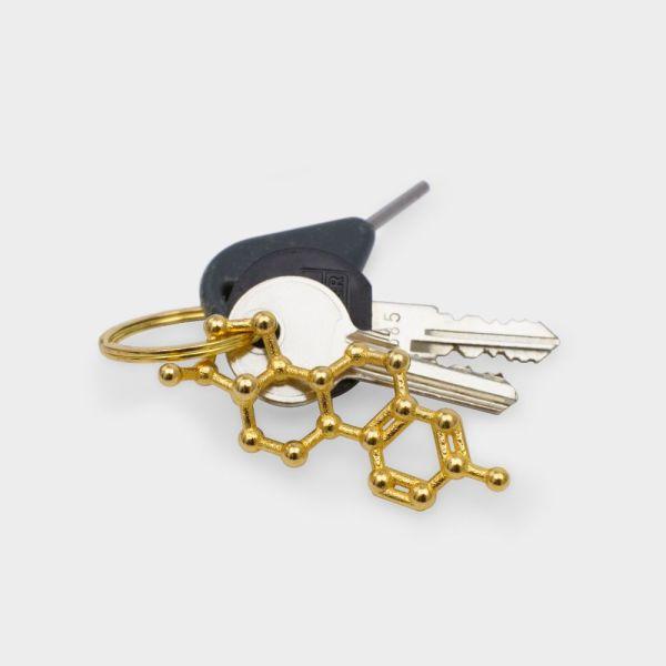Estrogen Molecule Keychain 3D Gold Steel