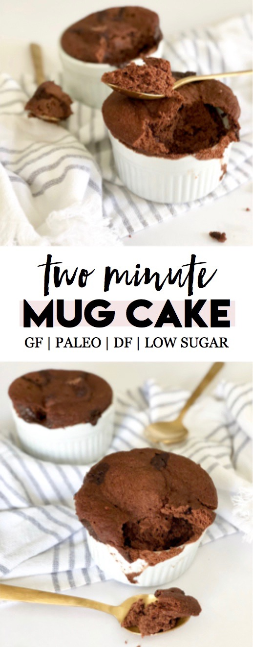 The perfect late night chocolate-craving clean treat! Quick and easy 2-minute microwave chocolate mug cake | paleo, gluten free, dairy free, low sugar