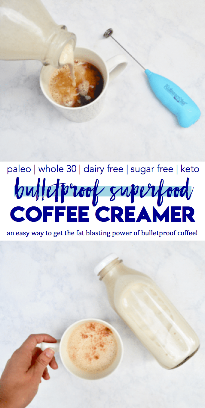 Loaded with healthy fats and lots of powerful superfoods, this super easy and simple coffee creamer recipe will give you all the fat-blasting and energy-producing power of bulletproof coffee | Improve metabolism, increase fat burning, reduce fat storage, and provide lots of vitamins and minerals | gluten free, dairy free, paleo, vegan, sugar free