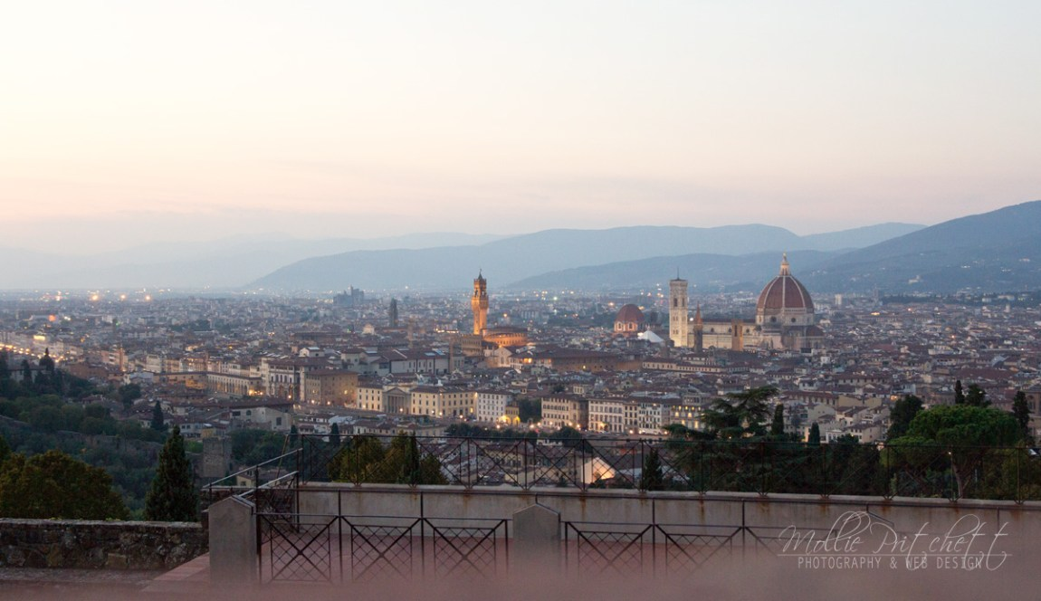 Panoramic sunset View of Florence, Italy