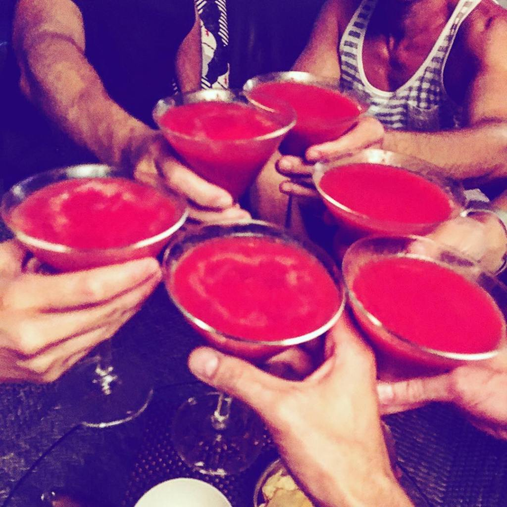 Strawberry daiquiris for the mothereffin win! cheers happyanniversary gaynightin fabulous
