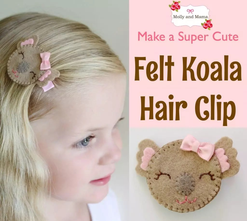 Make a Felt Koala Hair Clip - a Molly and Mama tutorial
