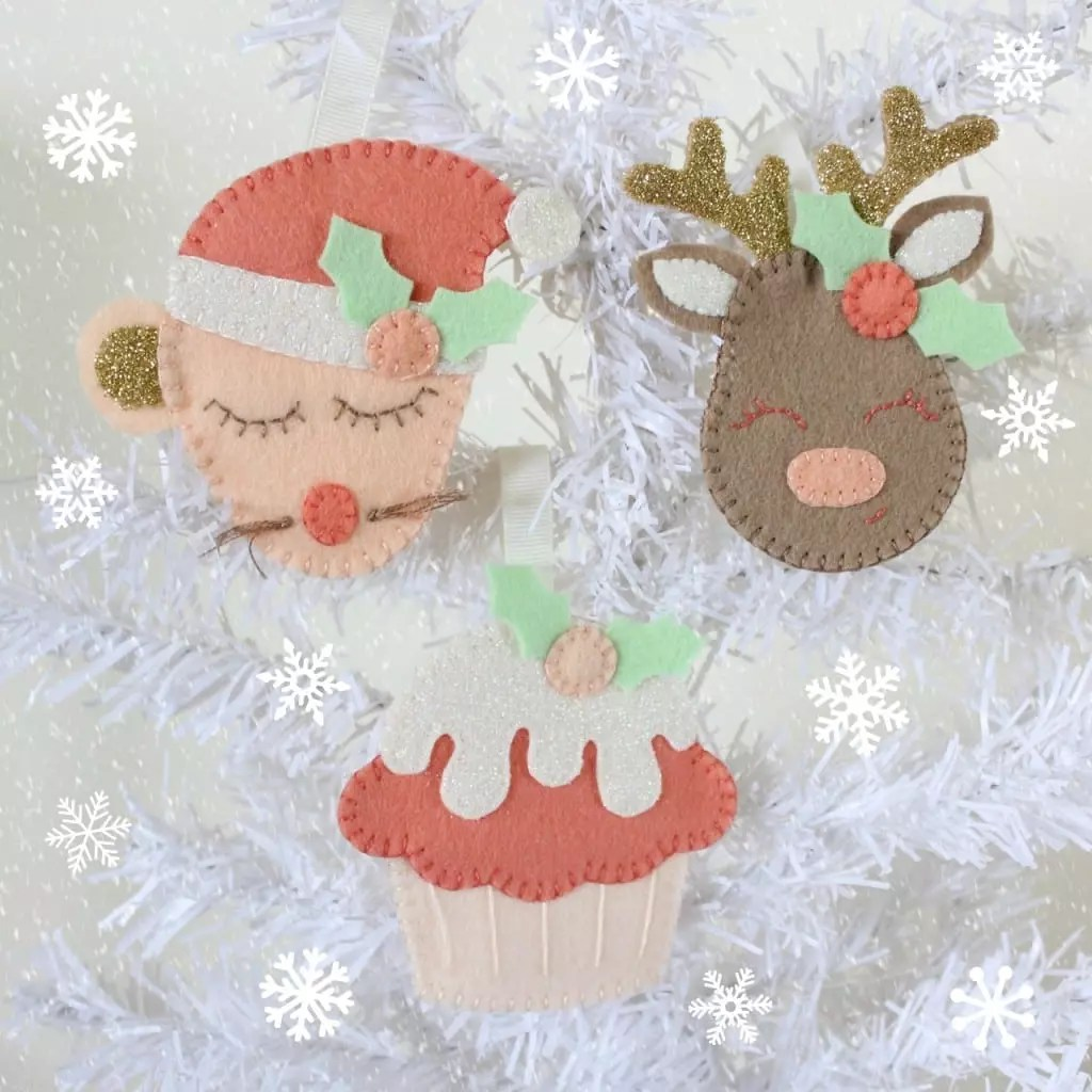 Festive Feltie Decorations by Molly and Mama for One Thimble