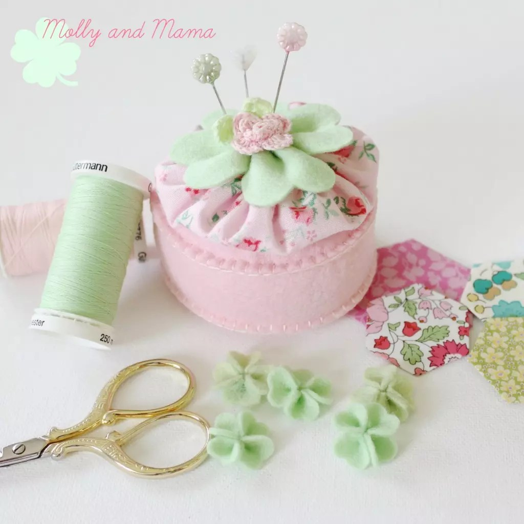 Lucky Pin Cushion with mini shamrocks by Molly and Mama