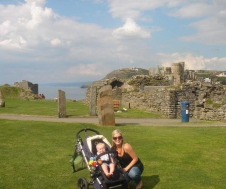 photo of Gretta and her son in England