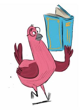 bo reading, illustration by Colin Jack