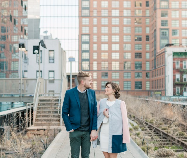 New York City Film Photographer High Line Engagement Session Couples Photos On High Line