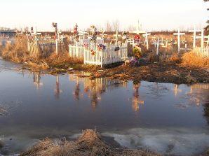Tuluksak spring flood graveyard
