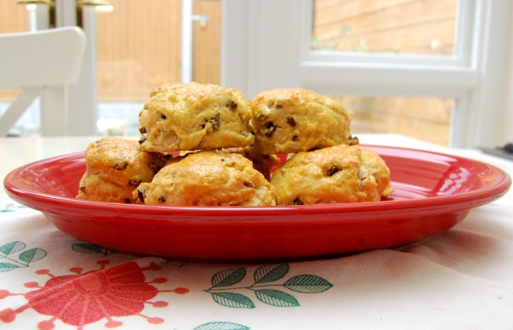Raisin scones side view