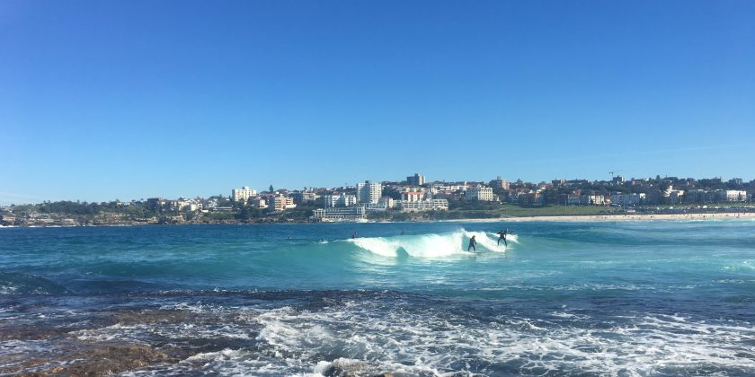 surfers at bondi beach australia