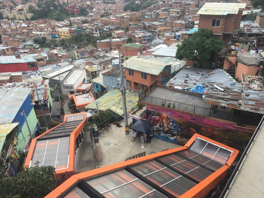 The famous orange escalators of Comuna 13
