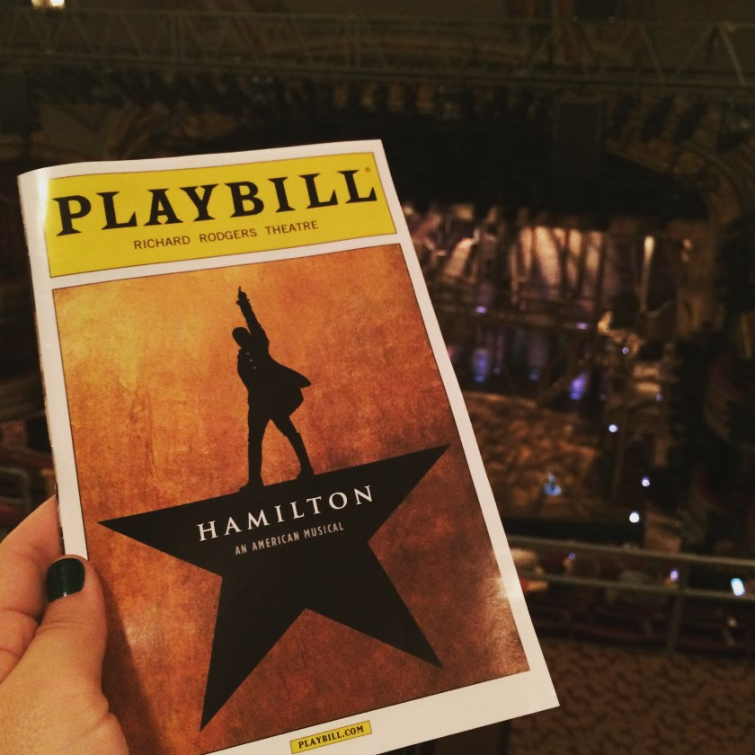 Hamilton the musical playbill in new york