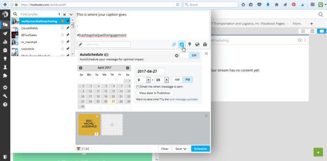 Pick a date and time to post to Instagram from HootSuite.
