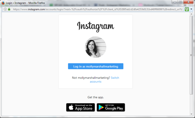 Log in to the Instagram screen