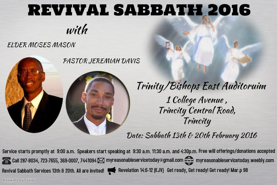 Revival Sabbaths (Feb. 13 & 20, 2016): Trinidad