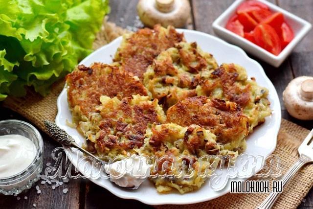 Potato-Mushroom Diana na may pagdaragdag ng mga itlog