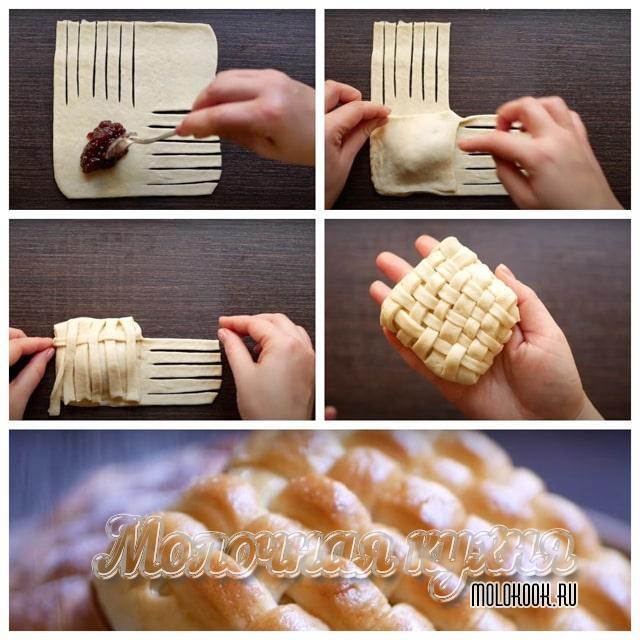Плетеные булочки с начинкой из повидла