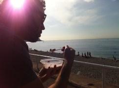Eating breakfast seaside