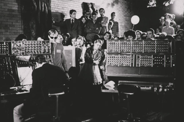 View of the concert performed by Robert Moog and the Moog Synthesizer, part of the Jazz in the Garden series, The Museum of Modern Art, August 28, 1969. Photographer: Peter Moore. Photographic Archive. The Museum of Modern Art Archives, New York