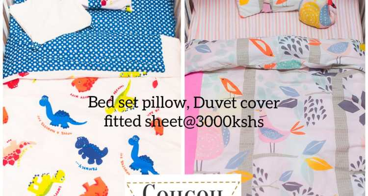 CouCou Kenya Baby Bed Set Pillow, Duvet cover fitted sheet @ Ksh3000