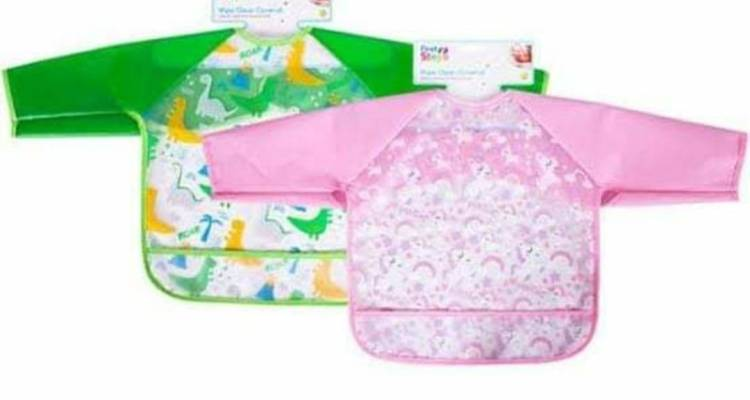 Wipe Clean Coverall Kids Baby Bib Overall Waterproof Easy Clean Stops Mess Green Dinosaur and Pink Unicorn*