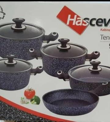 Hascevher Non-Stick Granite 9 Pieces Cookware Set