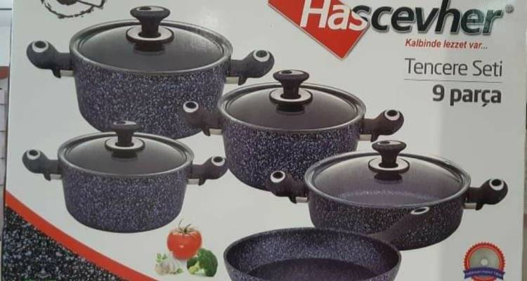 Hascevher Non-Stick Granite 9 Pieces Cookware Set
