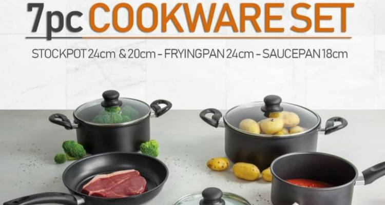 SQ Professional Ultimate Carbon Steel 7pc Cookware Set (Stockpots with Lid, Saucepan with Lid, Frying Pan)