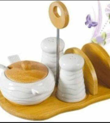 4 in 1 ceramic set with bamboo stand