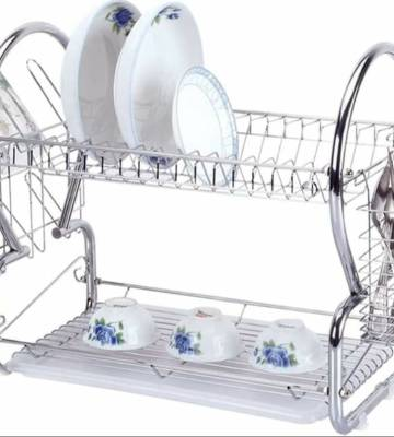 SQ Professional 2 Tier Dish Drainer Chrome Rack with Glass Utensil Cutlery Caddy & Drip Tray
