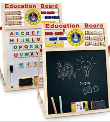FunBlast Educational Learning Board Multipurpose Double Sided Magnetic Wooden Writing Board, Size:44 X 32 cm.
