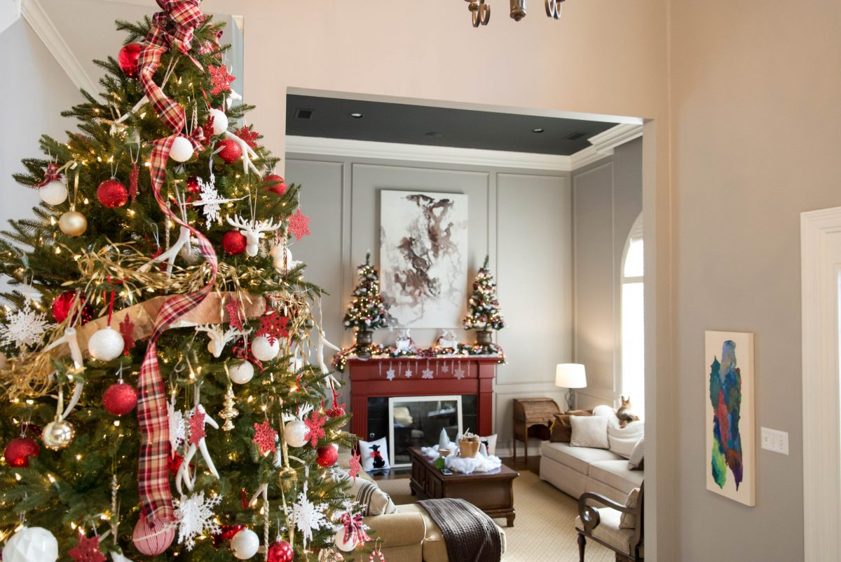 Christmas Décor Home Tour: Red Plaid & White Reindeer
