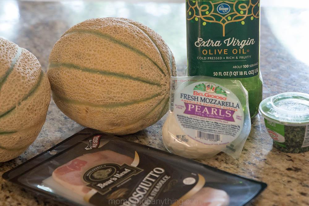Cantaloupe Caprese Salad Ingredients