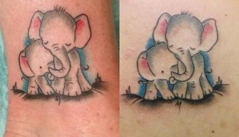 Elephant Mom And Baby Tattoo