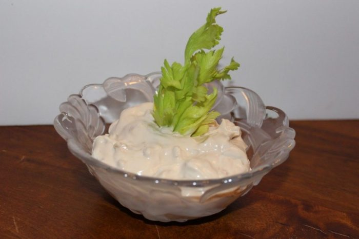 Veggies and dip.  If you don't have any fresh herb leaves to garnish, use celery leaves!