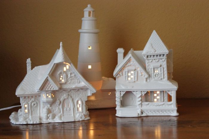 My three 'new' white Christmas houses.