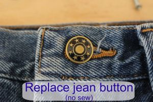 Replace a jean button. No sew.