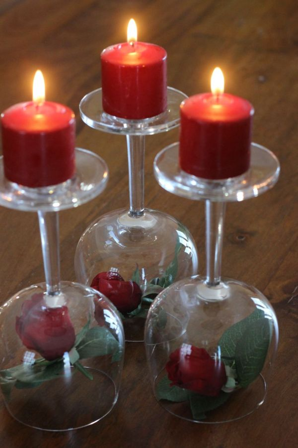Valentine S Day Centerpiece Roses Wineglasses Amp Candles