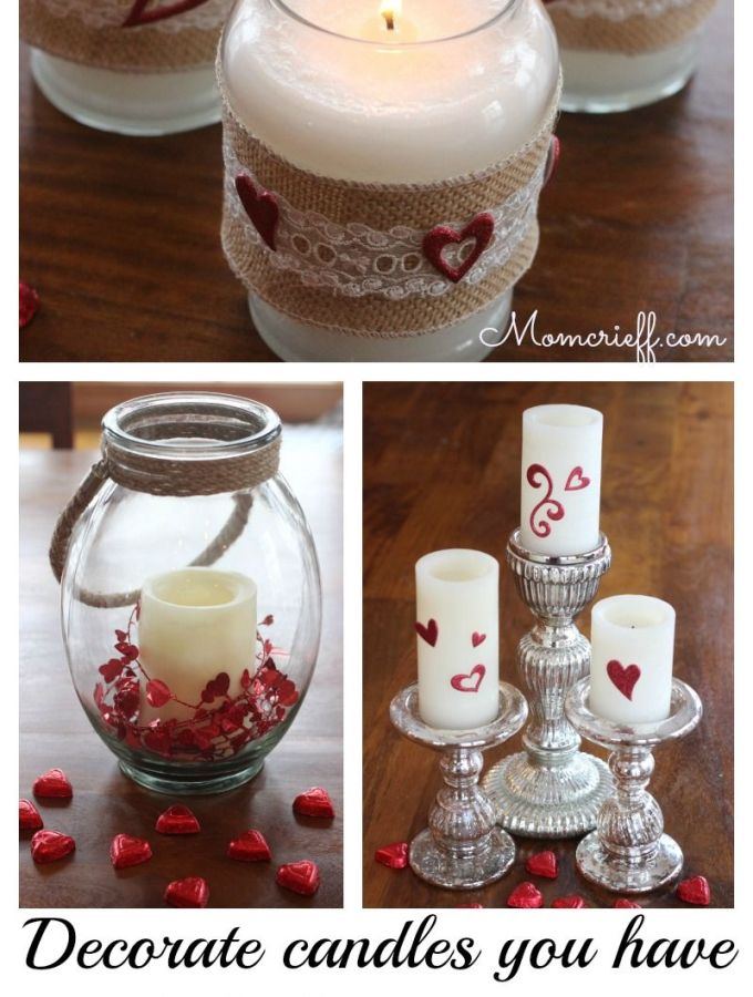Recycle candles for Valentine's Day decorations!