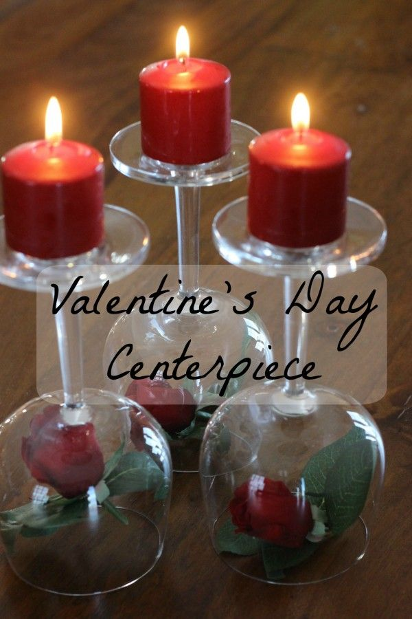 Valentine s day centerpiece roses wineglasses candles