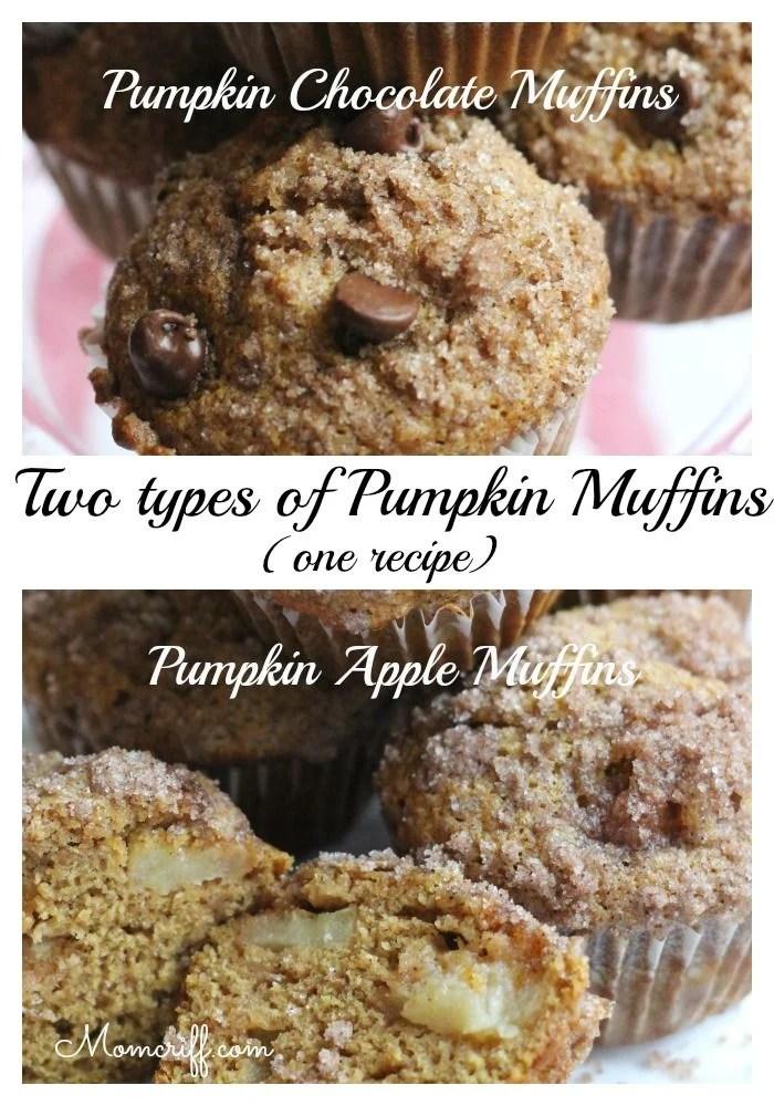 Pumpkin Apple & Pumpkin Chocolate Chip Muffins.