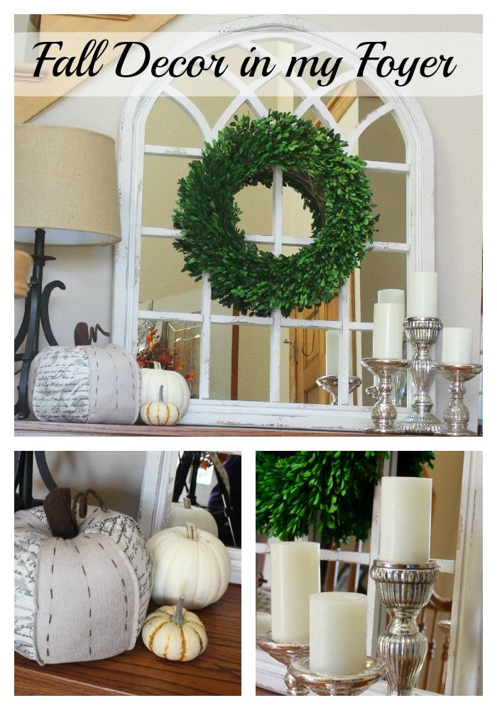 My fall decor in the foyer. This year I am going for a softer, more neutral look.