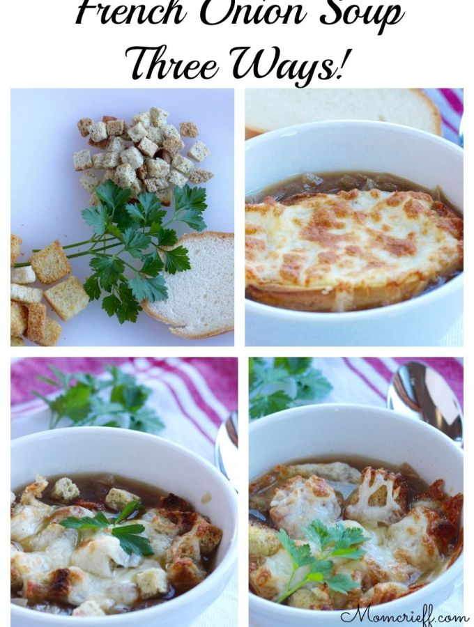 French Onion Soup – Three different toppings!