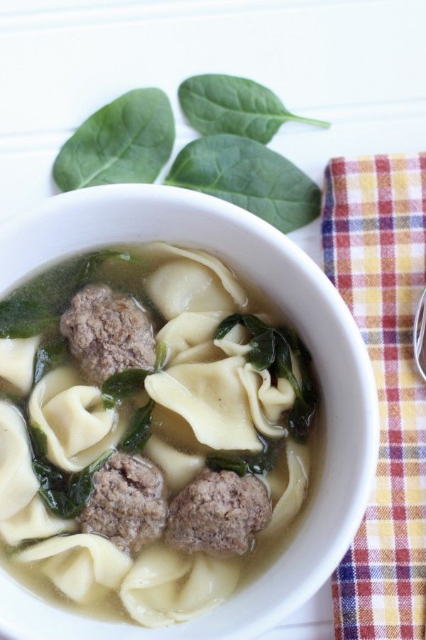 Tortellini Meatball Soup with Spinach