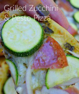 grilled zucchini and pesto pizza