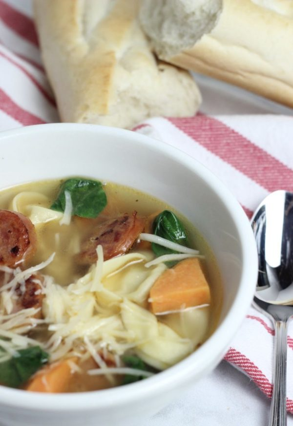 Fall Tortellini Soup with Cheese Brats