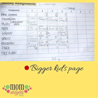 Assignment sheets bigger kids sample